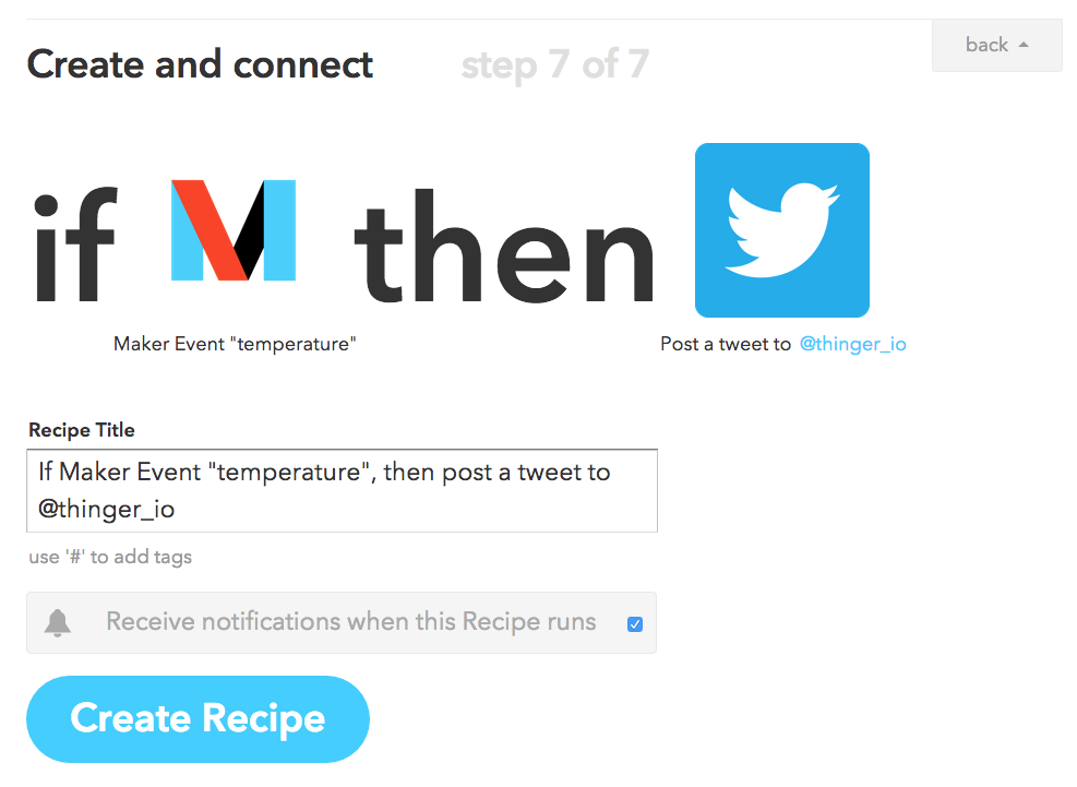 IFTTT Maker Channel: Tweet temperature and humidity - How-To